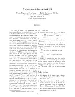 Matemática DiscretaP-IC O Algoritmo de Fatoração GNFSPedro