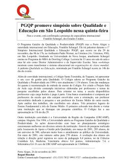 PGQP promove simpósio sobre Qualidade e Educação em São