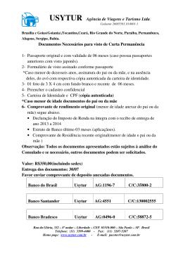 USYTUR Agência de Viagens e Turismo Ltda. Documentos