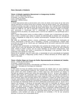 Mesa: Educação e Cidadania