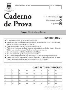 INSTRUÇÕES GABARITO PROVISÓRIO