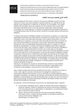 Recomendações da IFLA sobre a Literacia Informacional e