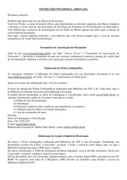 INSTRUÇÕES PÓS-DEFESA APROVADA Prezado(a) aluno(a