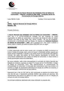 Contribuição do Fórum Nacional das Entidades Civis de Defesa do
