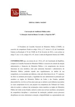 EDITAL CDDF nº 04/2015 Convocação de Audiência Pública sobre