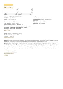Resumo do Curso Dados do curso: Instituição: ASSOCIACAO