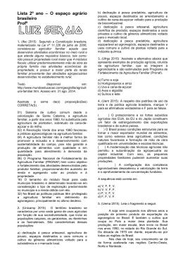 Lista 2º ano – O espaço agrário brasileiro Profº