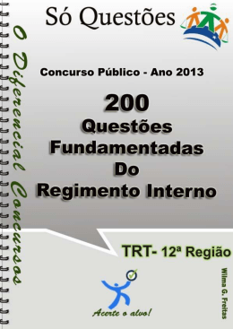 Questões Fundamentadas do Regimento Interno do TRT – SC – 12ª