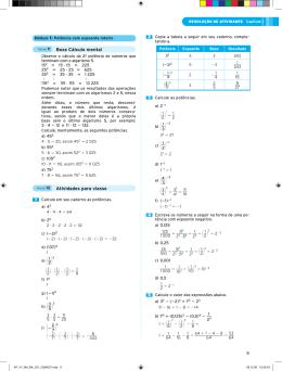 Boxe Cálculo mental Atividades para classe 9