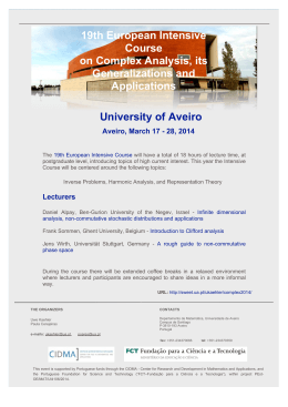 19th European Intensive Course on Complex Analysis, its