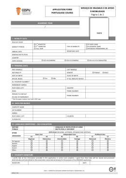 APPLICATION FORM PORTUGUESE COURSE SERVIÇO