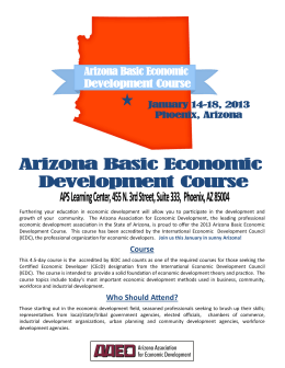 2013 Arizona Basic Economic Development Course