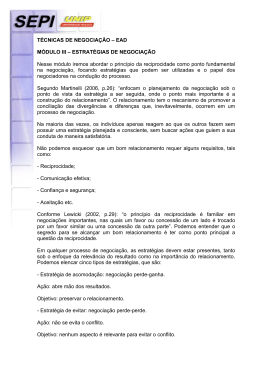 TÉCNICAS DE NEGOCIAÇÃO – EAD MÓDULO III – ESTRATÉGIAS