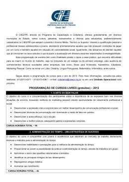 Programa de Capacitação Profissional, Empregabilidade e Cidadan