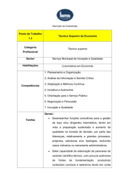 Posto de Trabalho 1.3 Técnico Superior de Economia Categoria