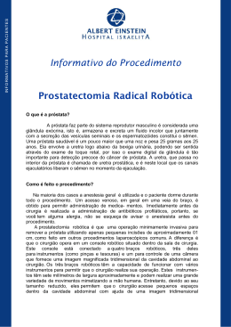 Informativo do Procedimento Prostatectomia Radical