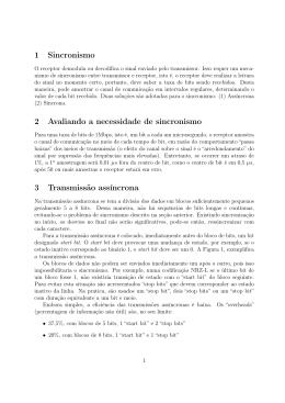 1 Sincronismo 2 Avaliando a necessidade de sincronismo 3