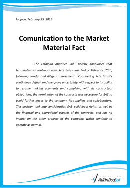 Comunication to the Market Material Fact