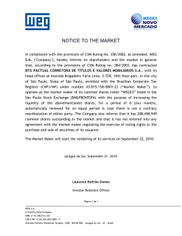 NOTICE TO THE MARKET