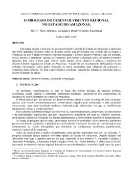 o processo do desenvolvimento regional no estado do amazonas.