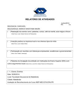 RELATÓRIO DE ATIVIDADES - CRA-Pr