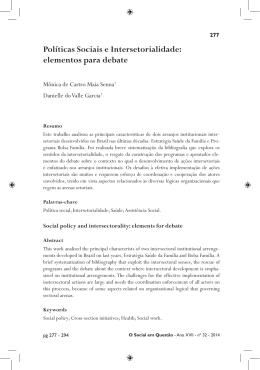 Políticas Sociais e Intersetorialidade: elementos para debate