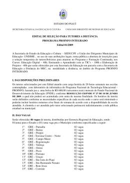 ESTADO DO PIAUÍ EDITAL DE SELEÇÃO PARA