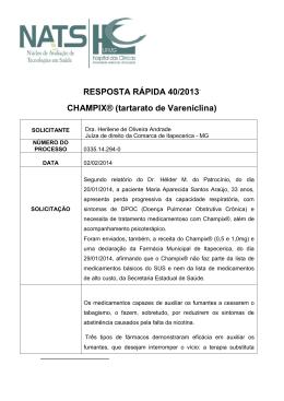 RESPOSTA RÁPIDA 40/2013 CHAMPIX® (tartarato de