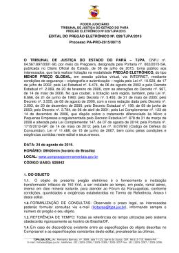 EDITAL DO PREGÃO ELETRÔNICO Nº. 029/TJPA/2015 Processo