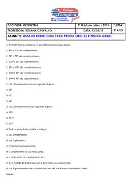 ASSUNTO: LISTA DE EXERCÍCIOS PARA PROVA OFICIAL E