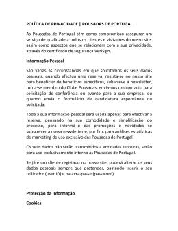 POLÍTICA DE PRIVACIDADE   POUSADAS DE PORTUGAL As