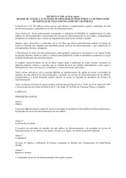 REGIME DE ACESSO À ACTIVIDADE DE