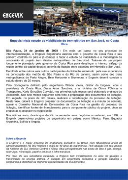Engevix inicia estudo de viabilidade do trem elétrico em San José