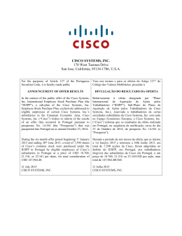 CISCO SYSTEMS, INC. 170 West Tasman Drive San Jose