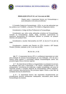 RESOLUÇÃO/CFFa nº 252 - Conselho Federal de Fonoaudiologia