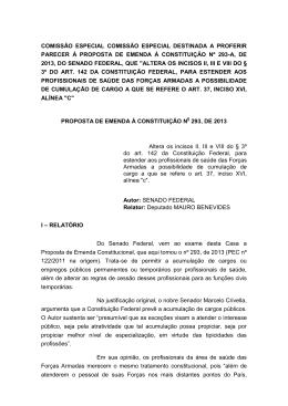11/12/2013 - PEC nº 293-A. Parecer da Comissão Especial.