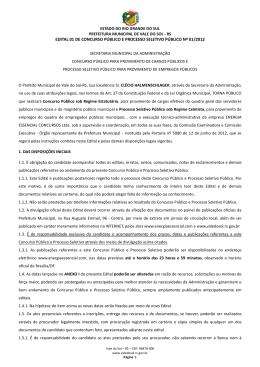 EDITAL 01 DE CONCURSO PÚBLICO E PROCESSO SELETIVO