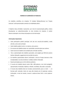 NORMAS DE SUBMISSÃO DE TRABALHO Os trabalhos científicos