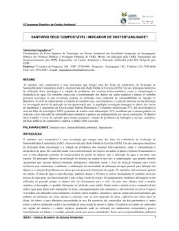 sanitário seco compostável: indicador de sustentabilidade?