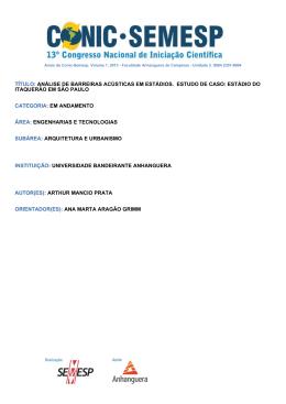 TÍTULO: ANÁLISE DE BARREIRAS ACÚSTICAS - O Conic