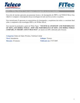 HSPA e WiMax Móvel II: Como comparar o desempenho na