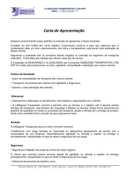 Carta de Apresentação - 3JMagossi Transportes