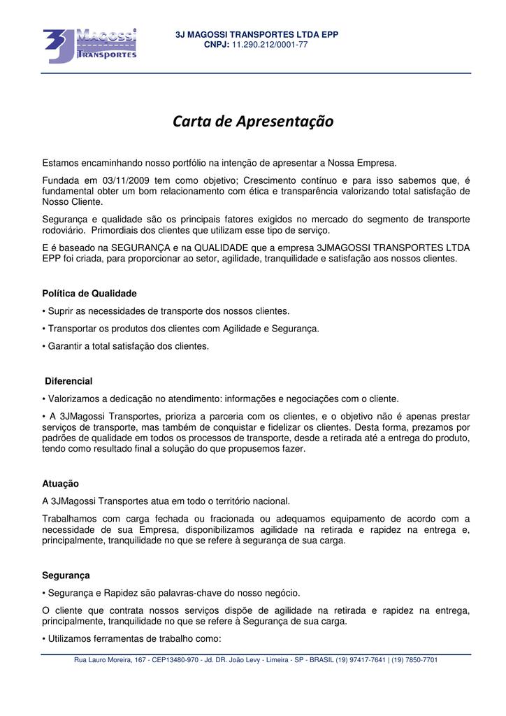 carta de apresentação de empresa
