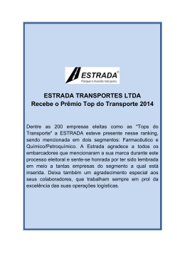 ESTRADA TRANSPORTES LTDA Recebe o Prêmio