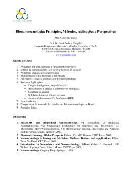 Bionanotecnologia: Princípios, Métodos, Aplicações e Perspectivas