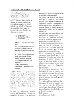 TAREFA ON LINE DE CIENCIAS – 7º ANO 1. A que filo pertencem