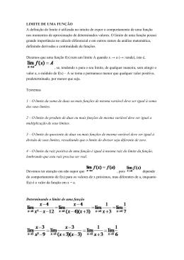 LIMITE DE UMA FUNÇÃO A definição de limite é utilizada no intuito