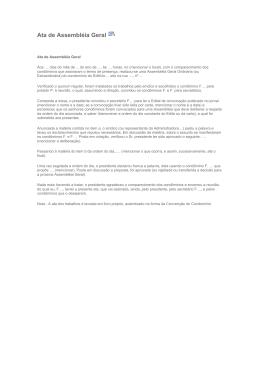 Ata de Assembléia Geral - Portal Condomínio em Foco