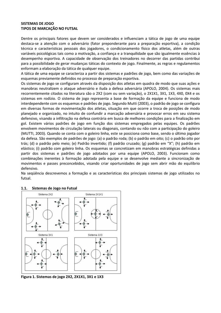 SISTEMAS DE JOGO TIPOS DE MARCAÇÃO NO fc0d455c874a5