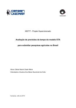 Avaliação de Previsões de Tempo e Clima do Modelo ETA